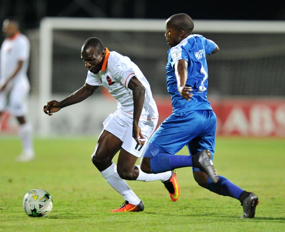 Tumelo Mogapi of Maritzburg United tackles Rodney Ramagalela of Polokwane City during the Absa Premiership 2016/17 match between Maritzburg United and Polokwane City at Harry Gwala Stadium, Pietermaritzburg South Africa on 27 September 2016 ©Muzi Ntombela/BackpagePix