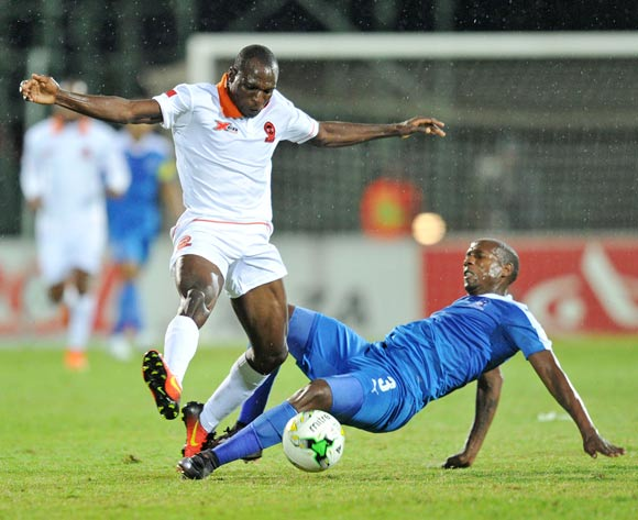 Rodney Ramagalela of Plokwane City tackled by Tumelo Mogapi of Maritzburg United during the Absa Premiership 2016/17 match between Maritzburg United and Polokwane City at Harry Gwala Stadium, Pietermaritzburg South Africa on 27 September 2016 ©Muzi Ntombela/BackpagePix