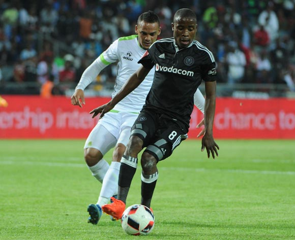 Ryan De Jongh of Platinum Stars challenges Thabo Matlaba of Orlando Pirates during the Absa Premiership match between Orlando Pirates and Platinum Stars on the  27 September 2016 at Orlando Stadium Pic Sydney Mahlangu/ BackpagePix