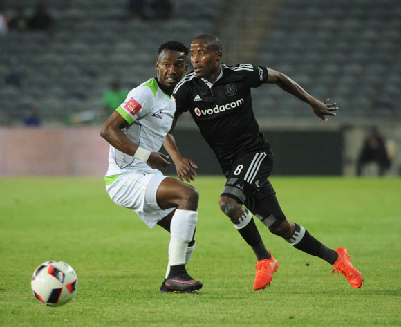 Siphiwe Mnguni of Platinum Stars challenges Thabo Matlaba of Orlando Pirates during the Absa Premiership match between Orlando Pirates and Platinum Stars on the  27 September 2016 at Orlando Stadium Pic Sydney Mahlangu/ BackpagePix