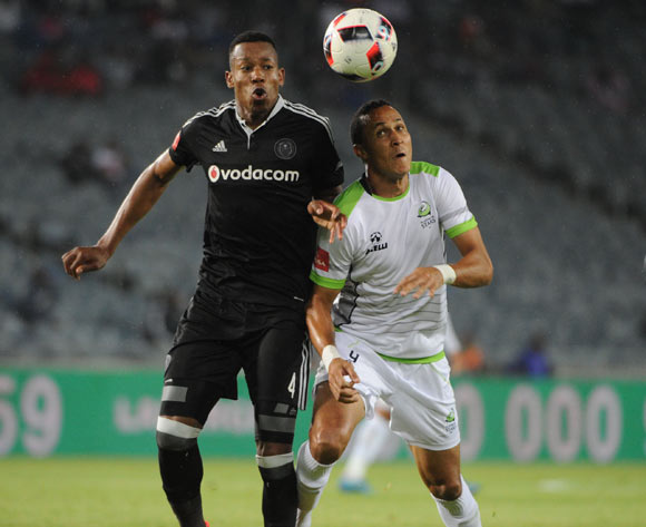 Happy Jele of Orlando Pirates challenges Henrico Botes of Platinum Stars during the Absa Premiership match between Orlando Pirates and Platinum Stars on the  27 September 2016 at Orlando Stadium Pic Sydney Mahlangu/ BackpagePix