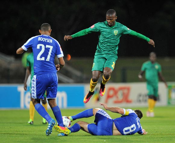 Nduduzo Sibiya of Golden Arrows tackled by Dean Furman of Supersport United during the Absa Premiership 2016/17 match between Golden Arrows and Supersport United at Princess Magogo Stadium, KwaMashu South Africa on 28 September 2016 ©Muzi Ntombela/BackpagePix