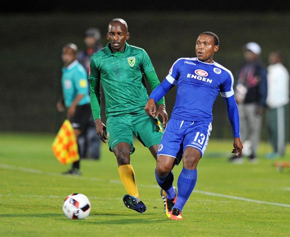 Thuso Phala of Supersport United challenged by Lehlohonolo Nonyane of Golden Arrows during the Absa Premiership 2016/17 match between Golden Arrows and Supersport United at Princess Magogo Stadium, KwaMashu South Africa on 28 September 2016 ©Muzi Ntombela/BackpagePix