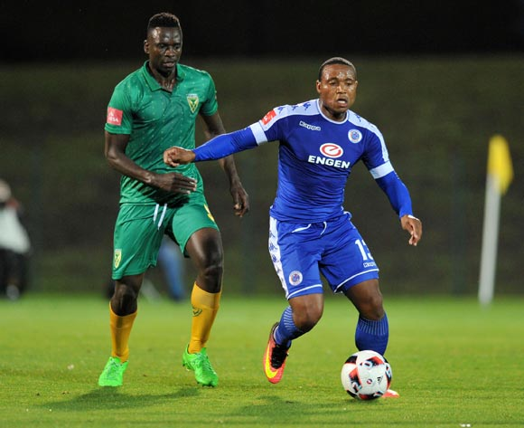Thuso Phala of Supersport United challenged by Limbikani Mzava of Golden Arrows during the Absa Premiership 2016/17 match between Golden Arrows and Supersport United at Princess Magogo Stadium, KwaMashu South Africa on 28 September 2016 ©Muzi Ntombela/BackpagePix