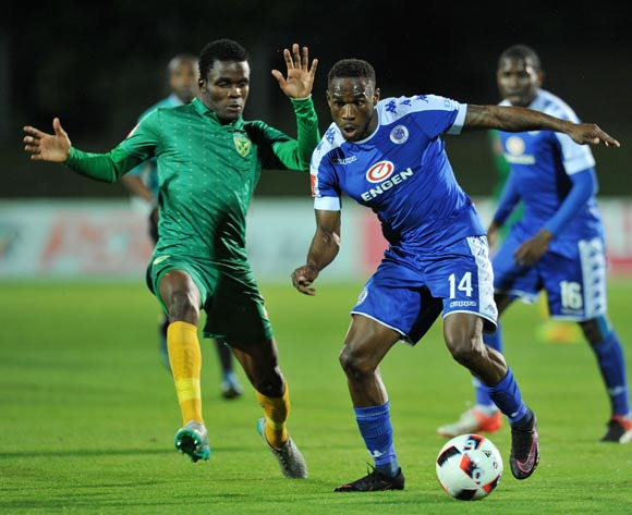 Onismor Bhasera of Supersport United challenged by Danny Phiri of Golden Arrows during the Absa Premiership 2016/17 match between Golden Arrows and Supersport United at Princess Magogo Stadium, KwaMashu South Africa on 28 September 2016 ©Muzi Ntombela/BackpagePix