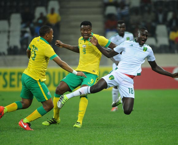 El Hacen El Id of Mauritania is challenged by Thamsanqa Gabuza of South Africa(m) and Andile Jali of South Africa (l)  during the AFCON Qualifier match between South Africa and Mauritania 02 September 2016 at Mbombela Stadium Pic Sydney Mahlangu/ BackpagePix