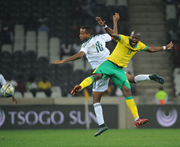 Hlompho Kekana of South Africa is challenged by Boubacar Bagili of Mauritania during the AFCON Qualifier match between South Africa and Mauritania 02 September 2016 at Mbombela Stadium Pic Sydney Mahlangu/ BackpagePix