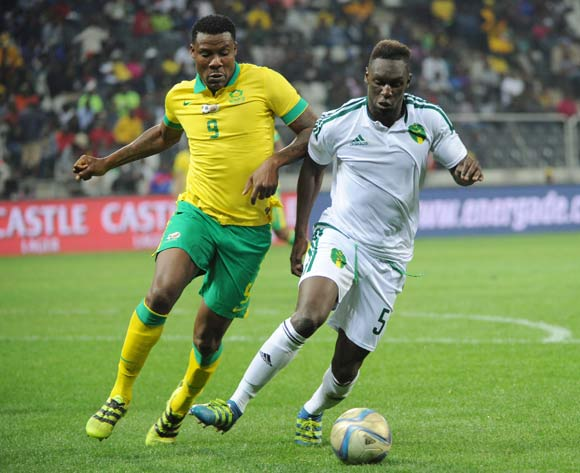 Sarr Sally of Mauritania is challenged by Thamsanqa Gabuza of South Africa during the AFCON Qualifier match between South Africa and Mauritania 02 September 2016 at Mbombela Stadium Pic Sydney Mahlangu/ BackpagePix