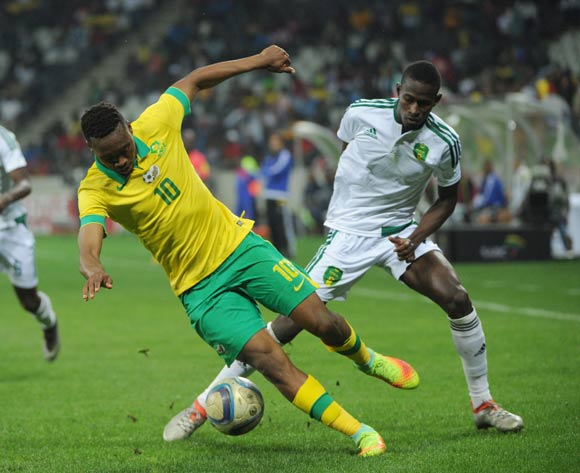 Mohamed Wade of Mauritania challenges Sibusiso Vilakazi of South Africa during the AFCON Qualifier match between South Africa and Mauritania 02 September 2016 at Mbombela Stadium Pic Sydney Mahlangu/ BackpagePix