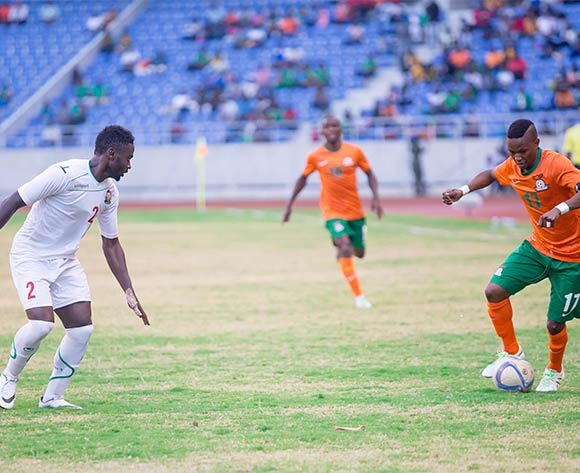 Zambia captain Rainford Kalaba takes on Kenyan defender Mayeko Musa Mohamed during the AFCON Qualifier match between Zambia and Kenya 04 September 2016 at Levy Mwanawasa Stadium Pic/ BackpagePix