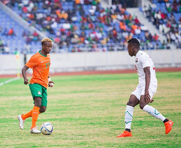 Zambia midfielder Lubambo Musonda takes on Kenya defender Abud Omar Khamisi during the AFCON Qualifier match between Zambia and Kenya 04 September 2016 at Levy Mwanawasa Stadium Pic/ BackpagePix