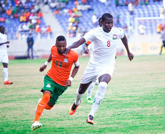Zambian captain Rainford Kalaba in a tussle with Anthony Agay Akumu during the AFCON Qualifier match between Zambia and Kenya 04 September 2016 at Levy Mwanawasa Stadium Pic/ BackpagePix
