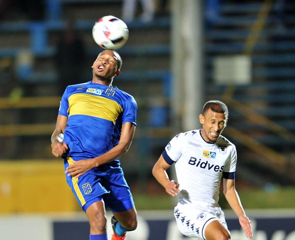 Lehlohonolo Majoro of Cape Town City challenged by Nazeer Allie of Bidvest Wits during the 2016 MTN 8 Semi Final match between Bidvest Wits and Cape Town City at the Bidvest Stadium in Johannesburg, South Africa on September 10, 2016 ©Samuel Shivambu/BackpagePix