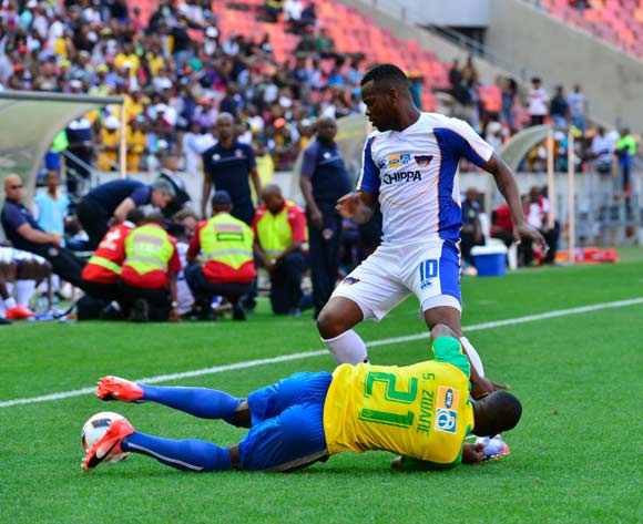 Andile Mbenyane of Chippa United Zwane Siyanda of Mamelodi Sundowns and during the 2016 MTN8 Cup semifinal 1st leg game between Chippa United and Mamelodi Sundowns at Nelson Mandela Bay Stadium, Port Elizabeth on 11 September 2016 ©BackpagePix