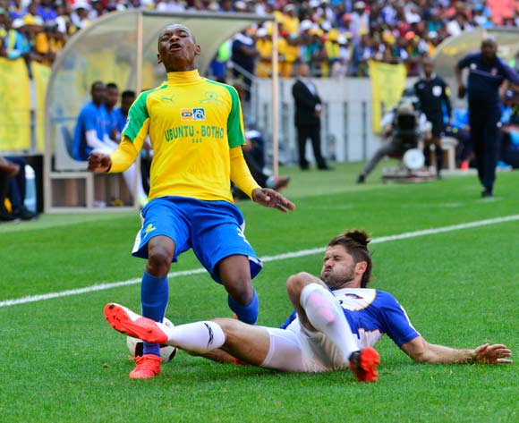 Khama Billiat of Mamelodi Sundowns challeged by Marc Van Heerden of Chippa United during the 2016 MTN8 Cup semifinal 1st leg game between Chippa United and Mamelodi Sundowns at Nelson Mandela Bay Stadium, Port Elizabeth on 11 September 2016 ©BackpagePix