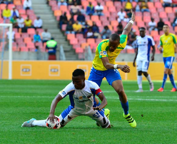 Thamsanqa Sangweni of Chippa United challened by Tiyani Mabunda of Mamelodi Sundowns during the 2016 MTN8 Cup semifinal 1st leg game between Chippa United and Mamelodi Sundowns at Nelson Mandela Bay Stadium, Port Elizabeth on 11 September 2016 ©BackpagePix