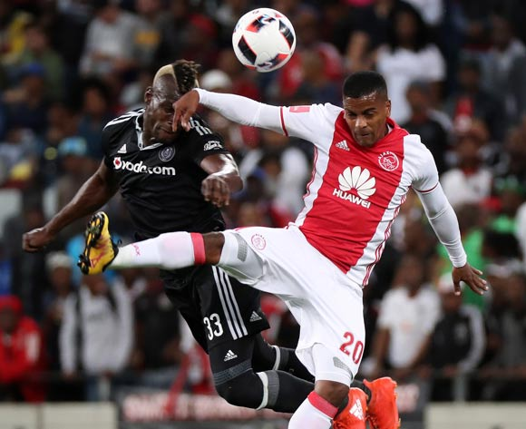 Edwin Gyimah of Orlando Pirates battles for the ball with Erwin Isaacs of Ajax Cape Town during the Absa Premiership 2016/17 football match between Ajax Cape Town and Orlando Pirates at Cape Town Stadium, Cape Town on 13 September 2016 ©Chris Ricco/BackpagePix