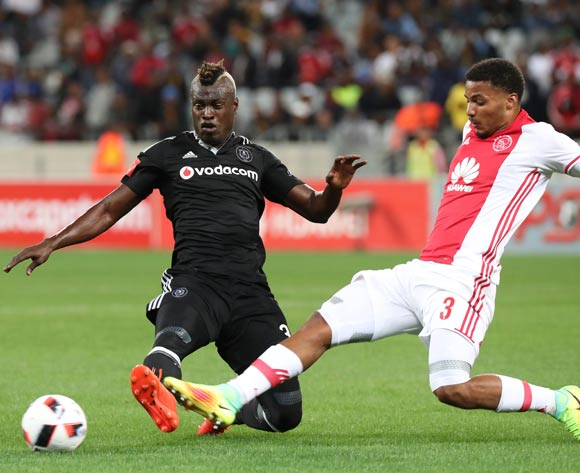 Edwin Gyimah of Orlando Pirates battles for the ball with Rivaldo Coetzee of Ajax Cape Town during the Absa Premiership 2016/17 football match between Ajax Cape Town and Orlando Pirates at Cape Town Stadium, Cape Town on 13 September 2016 ©Chris Ricco/BackpagePix