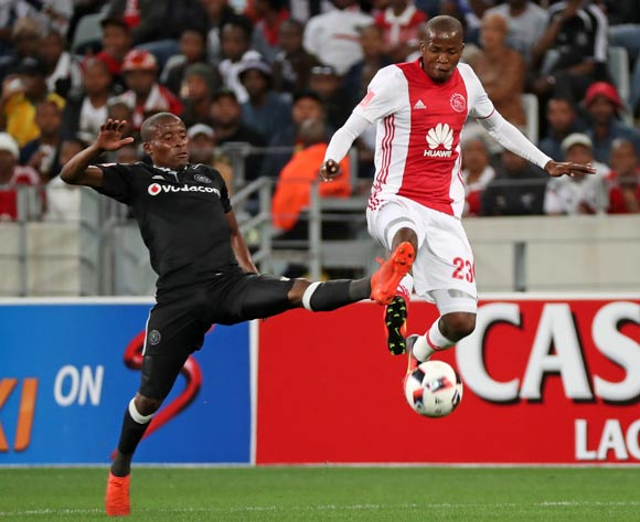 Thabo Mosadi of Ajax Cape Town tackled by Thabo Matlaba of Orlando Pirates during the Absa Premiership 2016/17 football match between Ajax Cape Town and Orlando Pirates at Cape Town Stadium, Cape Town on 13 September 2016 ©Chris Ricco/BackpagePix
