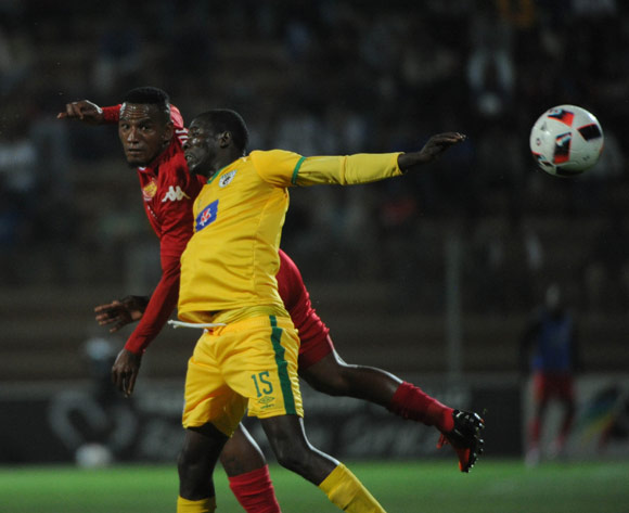 Albert Mothupa of Baroka FC challenges Franklin Cale of Highlands Park during the Absa Premiership match between Highlands Park and Baroka FC 13 September 2016 at Makhulong Stadium  Pic Sydney Mahlangu/ BackpagePix