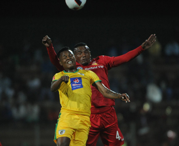 Richard Matloga of Baroka FC challenges Franklin Cale of Highlands Park during the Absa Premiership match between Highlands Park and Baroka FC 13 September 2016 at Makhulong Stadium  Pic Sydney Mahlangu/ BackpagePix