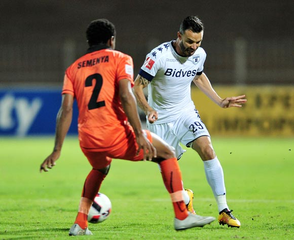 Dillon Sheppard of Bidvest Wits challenged by Thabiso Semenya of Polokwane City during the Absa Premiership match between Polokwane City and Bidvest Wits at the Old Peter Mokaba Stadium in Polokwane, South Africa on September 13, 2016 ©Samuel Shivambu/BackpagePix