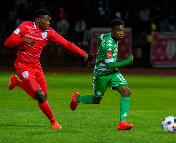 Kabelo Mahlasela of Bloemfontein Celtic and Charles Kampi of Free State Stars  during the Absa Premiership match between Bloemfontein Celtic and Free State Stars on 14 September 2016 at Goble Park, Bethlehem ©Frikkie Kapp /BackpagePix