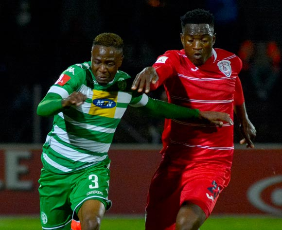 Mthokozisi Dube of Bloemfontein Celtic and Moeketsi Sekola of Free State Stars during the Absa Premiership match between Bloemfontein Celtic and Free State Stars on 14 September 2016 at Goble Park, Bethlehem ©Frikkie Kapp /BackpagePix