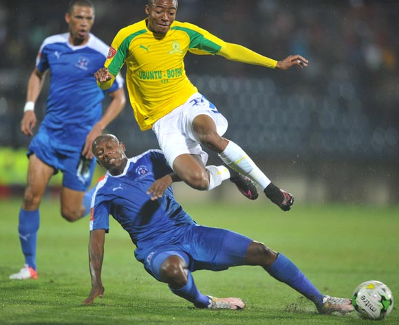 Thapelo Morena of Mamelodi Sundowns tackled by Tumelo Mogapi of Maritzburg United during the Absa Premiership 2016/17 match between Maritzburg United and Mamelodi Sundowns at Harry Gwala Stadium, Durban South Africa on 14 September 2016 ©Muzi Ntombela/BackpagePix