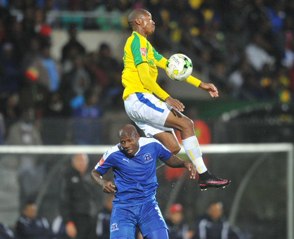 Thapelo Morena of Mamelodi Sundowns challenged by Tumelo Mogapi of Maritzburg United during the Absa Premiership 2016/17 match between Maritzburg United and Mamelodi Sundowns at Harry Gwala Stadium, Durban South Africa on 14 September 2016 ©Muzi Ntombela/BackpagePix
