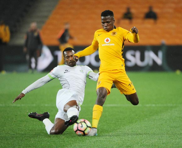 Edmore Chirambadare of Kaizer Chiefs is tackled by Siphiwe Mnguni of Platinum Stars  during the Absa Premiership match between Kaizer Chiefs and Platinum Stars 14 September 2016 at FNB Stadium  Pic Sydney Mahlangu/ BackpagePix