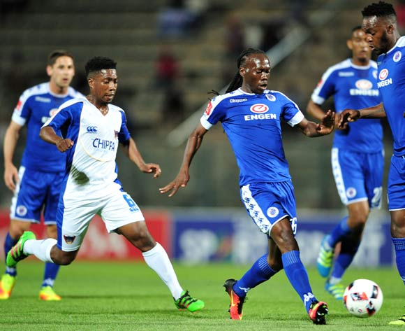 Reneilwe Letsholonyane of Supersport United challenged by Buyani Sali of Chippa United during the Absa Premiership match between Supersport United and Chippa United at the Lucas Moripe Stadium in Pretoria, South Africa on September 14, 2016 ©Samuel Shivambu/BackpagePix