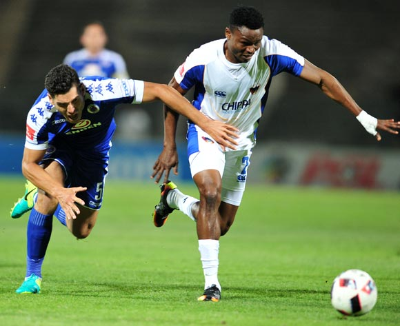 James Okwuosa of Chippa United challenged by Michael Boxall of Supersport United during the Absa Premiership match between Supersport United and Chippa United at the Lucas Moripe Stadium in Pretoria, South Africa on September 14, 2016 ©Samuel Shivambu/BackpagePix