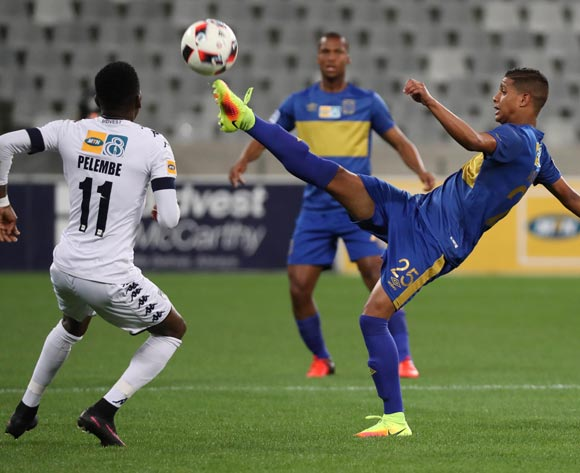 Duncan Adonis of Cape Town City FC evades challenge from Elias Pelembe of Bidvest Wits during the 2016 MTN 8 Semifinal second leg football match between Cape Town City FC and Bidvest Wits at Cape Town Stadium, Cape Town on 17 September 2016  ©Chris Ricco/BackpagePix