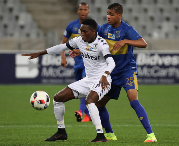 Elias Pelembe of Bidvest Wits evades challenge from Duncan Adonis of Cape Town City FC during the 2016 MTN 8 Semifinal second leg football match between Cape Town City FC and Bidvest Wits at Cape Town Stadium, Cape Town on 17 September 2016  ©Chris Ricco/BackpagePix