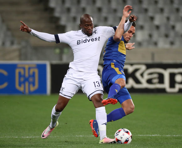 Sifiso Hlanti of Bidvest Wits battles for the ball with James Brown of Cape Town City FC during the 2016 MTN 8 Semifinal second leg football match between Cape Town City FC and Bidvest Wits at Cape Town Stadium, Cape Town on 17 September 2016  ©Chris Ricco/BackpagePix