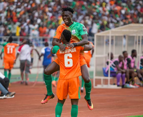 Zesco's Jackson Jesse Were and Simon Silwimba celebrate