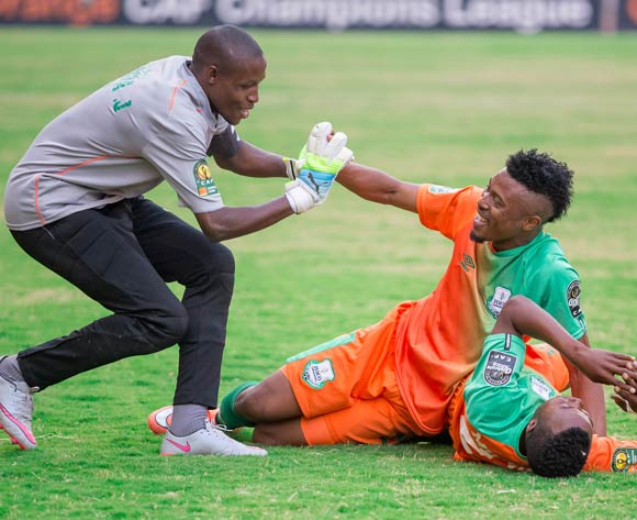 Zesco United goalkeeper Jacob Banda, defender Adama Ben Bahn and Mwape Mwelwa celebrate after Zesco's second goal