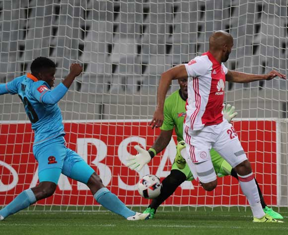 Nathan Paulse of Ajax Cape Town scores with a backheel past George Chigova of Polokwane City during the Absa Premiership 2016/17 football match between Ajax Cape Town and Polokwane City at Cape Town Stadium, Cape Town on 20 September 2016 ©Chris Ricco/BackpagePix