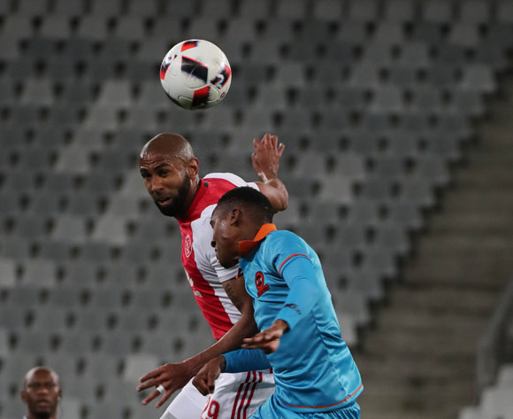 Nathan Paulse of Ajax Cape Town battles for the ball with Sammy Seabi of Polokwane City during the Absa Premiership 2016/17 football match between Ajax Cape Town and Polokwane City at Cape Town Stadium, Cape Town on 20 September 2016 ©Chris Ricco/BackpagePix