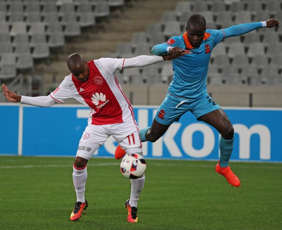 Bantu Mzwakali of Ajax Cape Town battles for the ball with Simphiwe Hlongwane of Polokwane City during the Absa Premiership 2016/17 football match between Ajax Cape Town and Polokwane City at Cape Town Stadium, Cape Town on 20 September 2016 ©Chris Ricco/BackpagePix