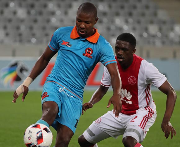 Puleng Tlolane of Polokwane City challenged by Abel Mabaso of Ajax Cape Townduring the Absa Premiership 2016/17 football match between Ajax Cape Town and Polokwane City at Cape Town Stadium, Cape Town on 20 September 2016 ©Chris Ricco/BackpagePix