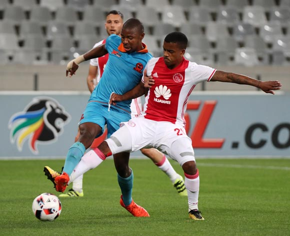 Erwin Isaacs of Ajax Cape Town battles for the ball with Puleng Tlolane of Polokwane City during the Absa Premiership 2016/17 football match between Ajax Cape Town and Polokwane City at Cape Town Stadium, Cape Town on 20 September 2016 ©Chris Ricco/BackpagePix