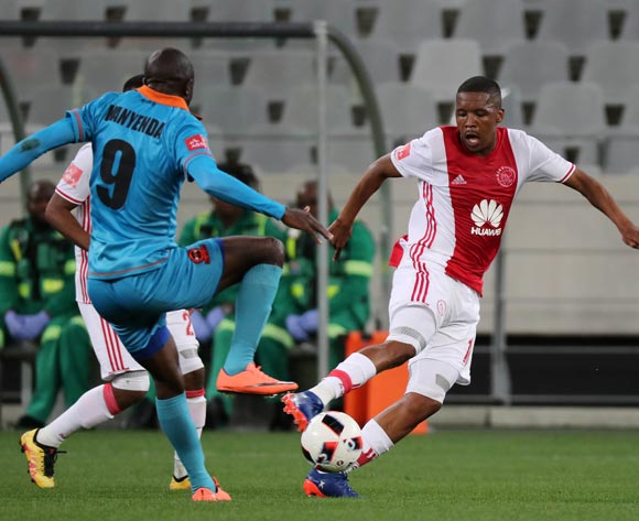 Lebohang Mokoena of Ajax Cape Town evades challenge from Esau Kanyenda of Polokwane City during the Absa Premiership 2016/17 football match between Ajax Cape Town and Polokwane City at Cape Town Stadium, Cape Town on 20 September 2016 ©Chris Ricco/BackpagePix