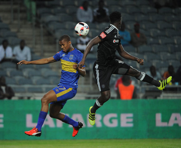 Tshepo Gumede of Cape Town City challenges Justice Chabalala of Orlando Pirates  during the Absa Premiership match between Orlando Pirates and Cape Town City on the  20 September 2016 at Orlando Stadium  Pic Sydney Mahlangu/ BackpagePix
