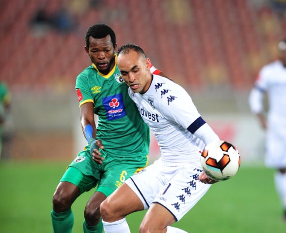 Eleazar Rodgers of Bidvest Wits challenged by Olaleng Shaku of Baroka FC during the Absa Premiership match between Baroka FC and Bidvest Wits at the Old Peter Mokaba Stadium in Polokwane, South Africa on September 20, 2016 ©Samuel Shivambu/BackpagePix