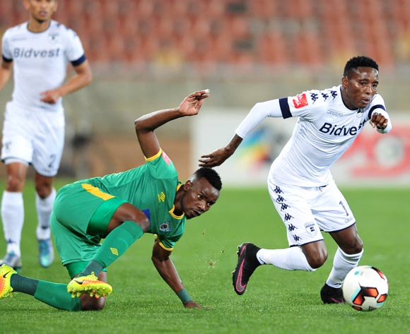 Elias Pelembe of Bidvest Wits challenged by Sipho Moeti of Baroka FC during the Absa Premiership match between Baroka FC and Bidvest Wits at the Old Peter Mokaba Stadium in Polokwane, South Africa on September 20, 2016 ©Samuel Shivambu/BackpagePix
