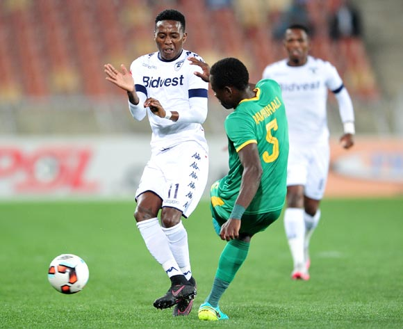 Phineas Ravhuhali of Baroka FC challenged by  Elias Pelembe of Bidvest Wits during the Absa Premiership match between Baroka FC and Bidvest Wits at the Old Peter Mokaba Stadium in Polokwane, South Africa on September 20, 2016 ©Samuel Shivambu/BackpagePix