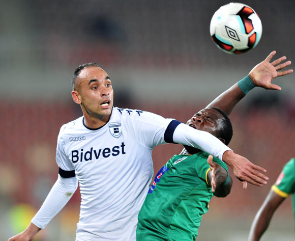 Phineas Ravhuhali of Baroka FC challenged by  Eleazar Rodgers of Bidvest Wits during the Absa Premiership match between Baroka FC and Bidvest Wits at the Old Peter Mokaba Stadium in Polokwane, South Africa on September 20, 2016 ©Samuel Shivambu/BackpagePix