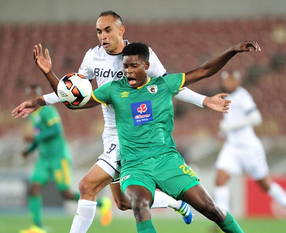 Nyasha Munetsi of Baroka FC challenged by  Eleazar Rodgers of Bidvest Wits during the Absa Premiership match between Baroka FC and Bidvest Wits at the Old Peter Mokaba Stadium in Polokwane, South Africa on September 20, 2016 ©Samuel Shivambu/BackpagePix